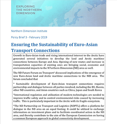 NDI Policy Brief Ensuring the Sustainability of Euro Asian Transport Connections
