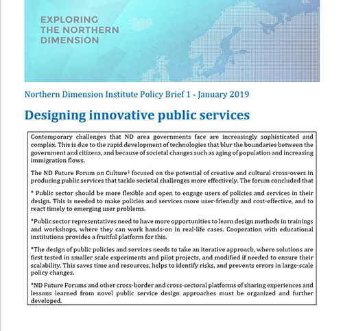 Northern Dimension Institute Policy Brief 1 January 2019 Designing innovative public services web