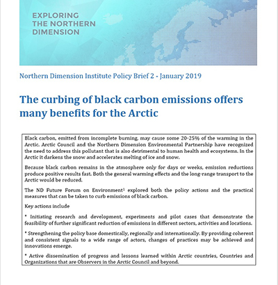 Northern Dimension Institute Policy Brief 2 January 2019 curbing black carbon emissions
