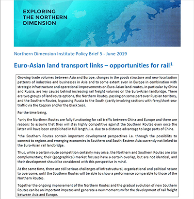 NDI Policy Brief 5 Euro Asian land transport links opportunities for rail