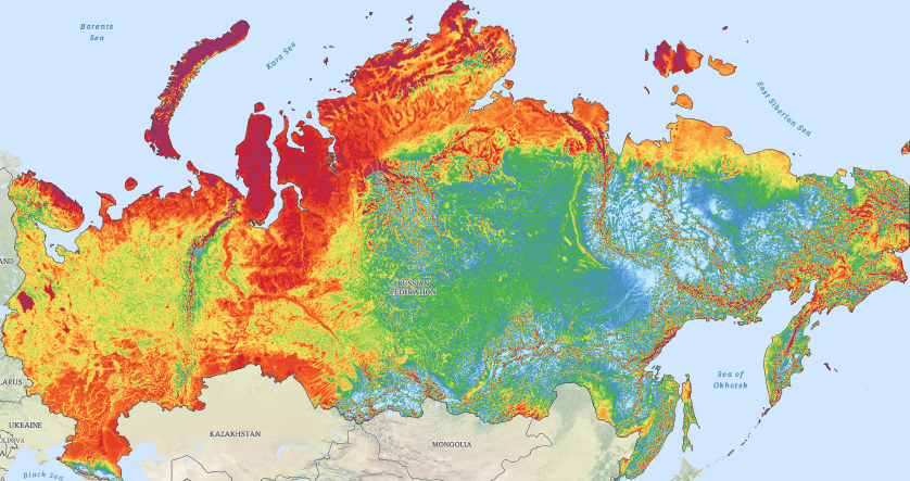 A map of Russia presenting mean wind speeds in the area